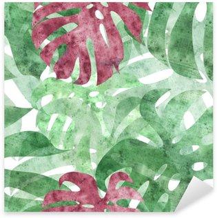 Naklejka Pixerstick Bez szwu powtarzalny monstera liści w tle