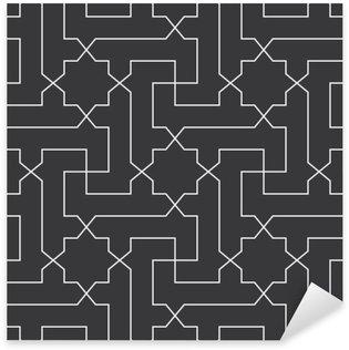 Naklejka Pixerstick Bezproblemowa czarno-biały klasyczny arabski przekątnej krzyż i gwiazda wektor wzór
