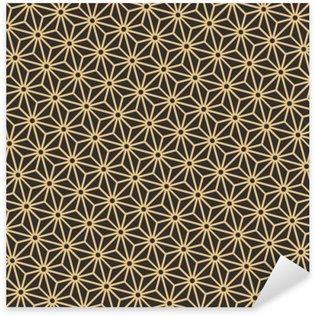 Naklejka Pixerstick Bezproblemowa zabytkowe paletę czerni i złota przekątnej japoński asanoha wektor wzór