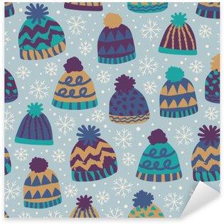 Naklejka Pixerstick Bezszwowe wzór zimowe czapki i płatki śniegu