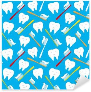 Naklejka Białe zęby i kolorowe szczoteczki do zębów.