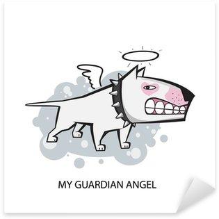 Naklejka Biały bullterrier anioł stróż