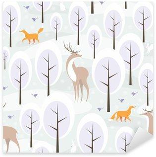 Naklejka Pixerstick Boże Narodzenie bez szwu z wizerunkiem zimowego lasu i dzikich zwierząt