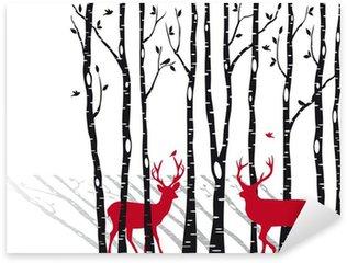 Naklejka Pixerstick Brzozy z Christmas jelenie, wektor