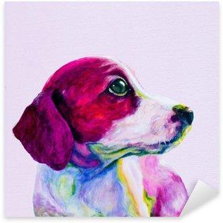 Naklejka Buddy Portret młodego psa, szczeniaka w neonowych kolorach. Patrząc i tęsknota za uwagę