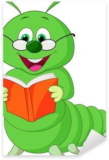 Naklejka Pixerstick Caterpillar czytanie książki