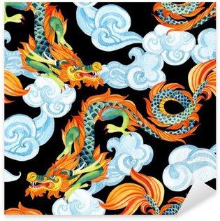 Naklejka Pixerstick Chiński smok szwu. Asian Dragon ilustracji