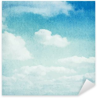 Naklejka Pixerstick Chmury i niebo w tle akwarela