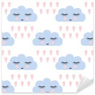 Naklejka Pixerstick Chmury wzór. Jednolite wzór z uśmiechem śpiących chmury i serca dla dzieci święta. Cute baby shower tło wektor. Dziecko rysunek styl deszczowe chmury w miłości ilustracji wektorowych.