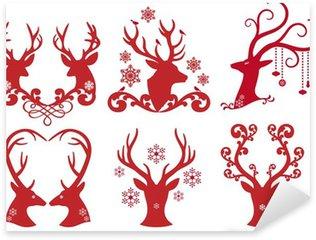 Naklejka Pixerstick Christmas jelenie jeleń głowy, wektor