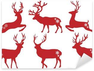 Naklejka Pixerstick Christmas jelenie jelenie, wektor zestaw
