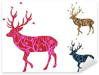 Naklejka Pixerstick Christmas jelenie ze wzorem drzewa i ptaków, wektor