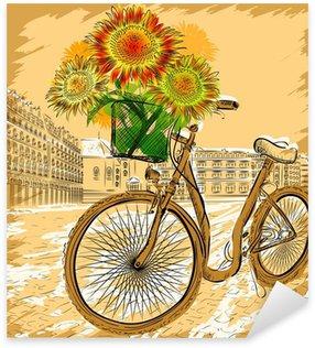Naklejka Pixerstick Christmas pocztówka z roweru i słoneczniki