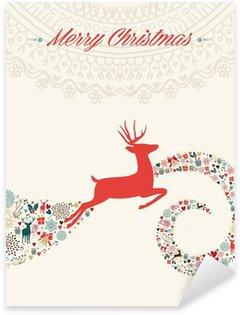 Naklejka Pixerstick Christmas reniferów pozdrowienia ilustracja
