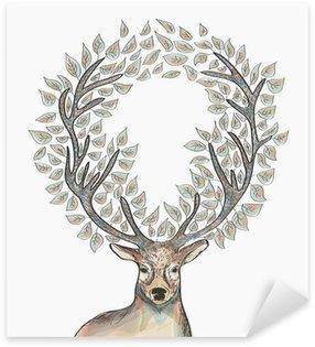 Naklejka Pixerstick Christmas reniferów pozostawia koło skład EPS10 plik.