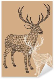 Naklejka Pixerstick Christmas reniferów z geometrycznym wzorem, wektor