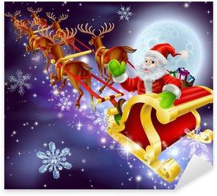 Naklejka Pixerstick Christmas Santa latania w jego sanki lub sanie
