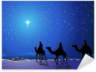 Naklejka Pixerstick Christmas Story. Trzech mędrców przejść do gwiazdy betlejemskiej