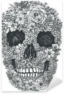 Naklejka Pixerstick Czaszki wektorowych kwiaty