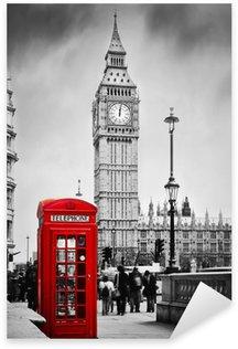 Naklejka Pixerstick Czerwona budka telefoniczna i Big Ben w Londynie, Anglii, Wielkiej Brytanii