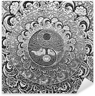 Naklejka Pixerstick Drzewo życia Srebrnego Mandala
