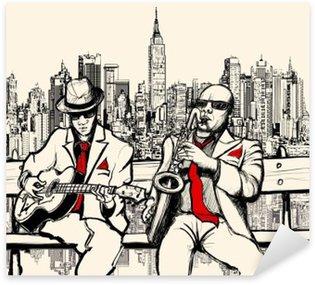Naklejka Pixerstick Dwaj mężczyźni jazzowych grających w Nowym Jorku