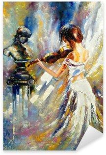 Naklejka Pixerstick Dziewczyna gra na skrzypcach