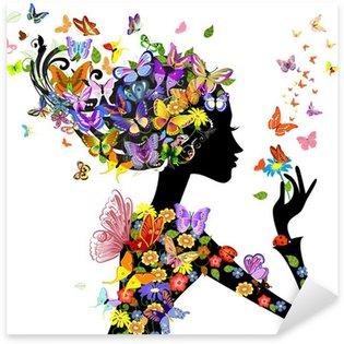 Naklejka Pixerstick Dziewczyna mody kwiaty z motyli