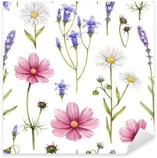 Naklejka Pixerstick Dzikie kwiaty ilustracji. Akwarela bez szwu deseń