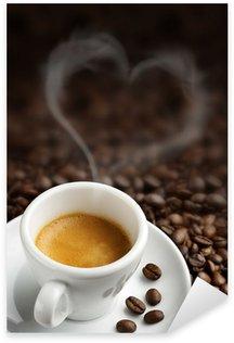 Naklejka Pixerstick Filiżanka kawy z kształcie serca pary