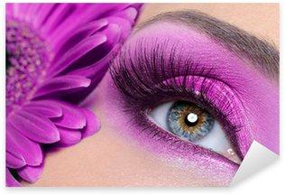Naklejka Pixerstick Fioletowy makijaż oczu z Gerber kwiat