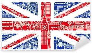 Naklejka Pixerstick Flaga Anglii z symboli Wielkiej Brytanii i Londynie