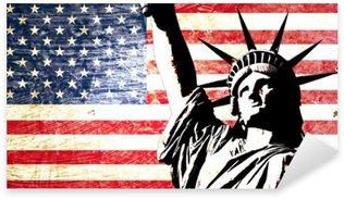 Naklejka Flaga USA Statua Wolności
