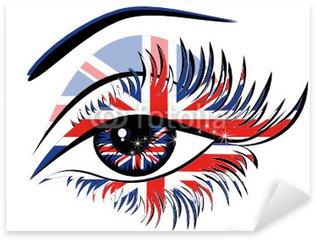 Naklejka Pixerstick Flaga Wielkiej Brytanii w pięknych kobiet oka