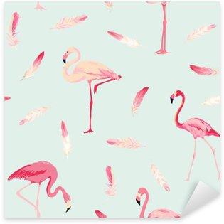 Naklejka Pixerstick Flamingo ptaków w tle. Flamingo Feather tło. Retro Seamless Pattern