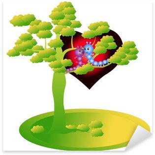 Naklejka Gąsienica na drzewie