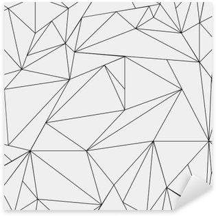 Naklejka Pixerstick Geometryczne proste czarno-białe minimalistyczny wzór, trójkąty lub witraż. Może być używany jako tapeta, tło lub tekstury.