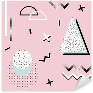 Naklejka Pixerstick Geometryczny wzór Memphis background.Retro za zaproszenie, wizytówki, plakatu lub transparentu.