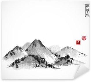 Naklejka Góry ręcznie rysowane tuszem na białym tle. Zawiera hieroglify - zen, wolność, natura, jasność, wielkie błogosławieństwo. Tradycyjne orientalne malarstwo tuszem sumi-e, U-sin, go-hua.