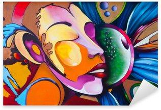 Naklejka Pixerstick Graffiti twarz