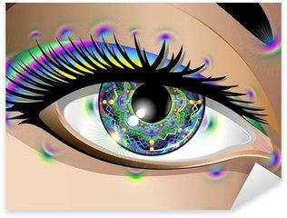Naklejka Pixerstick Hypnotic Psychedelic Mandala Eye-Occhio Mandala-Vector