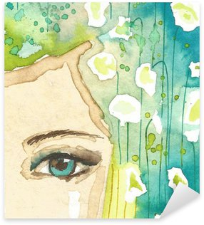 Naklejka Pixerstick Ilustracja abstrakcyjny portret kobiety