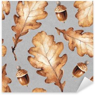 Naklejka Ilustracja akwarela z liśćmi. Jednolite wzór