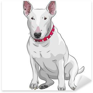 Naklejka Ilustracja cartoon pies rasy bull terrier siedzi