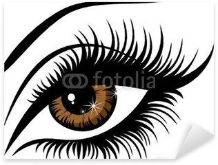 Naklejka Pixerstick Ilustracja Wektor kobieta piękne brązowe oczy