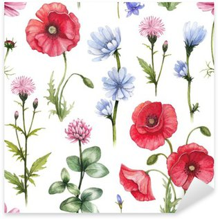 Naklejka Pixerstick Ilustracje dzikich kwiatów. Akwarela szwu wzór