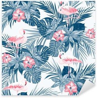 Naklejka Pixerstick Indigo tropikalne lato szwu z ptaków Flamingo i egzotycznych kwiatów