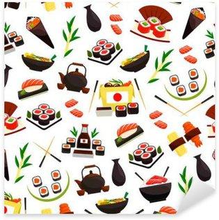 Naklejka Japońskie dania z owoców morza, sushi bez szwu wzór