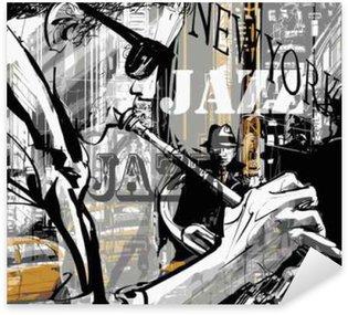 Naklejka Jazzowy trębacz na ulicy w Nowym Jorku
