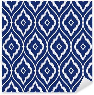 Naklejka Pixerstick Jednolite indygo niebieski i biały rocznika wzór perski Ikat